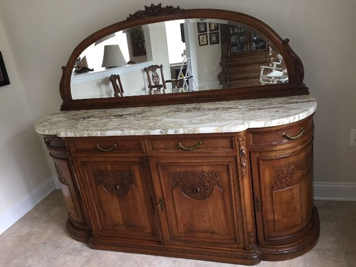 furniture high end. exquisite marble top server with mirror has key from new york 6 feet long 21 furniture high end