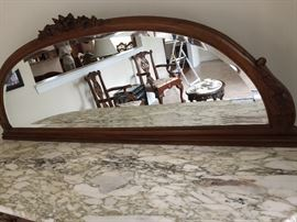 Exquisite marble top server with mirror, has key. From New York.