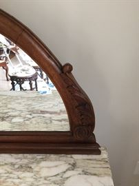 Exquisite marble top server with mirror, has key