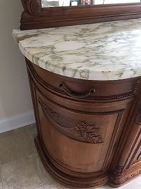 Exquisite marble top server with mirror, has key (some damage to both sides)