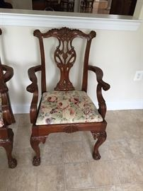 3 Matching Fabric & wood chairs