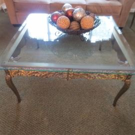 BRASS AND GLASS COCKTAIL TABLES
