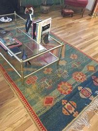 Glass coffee table & vintage area rug