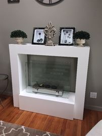 Modernist white lacquer sterno fireplace