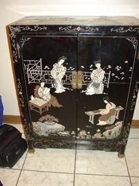Vintage Drexel Black Lacquer Cabinet