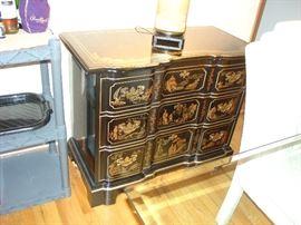 Vintage Drexel Oriental motif Buffet - black lacquer