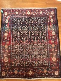 "Vintage Persian Hamedan rug, measures 3 '9"" x 4' 2""."