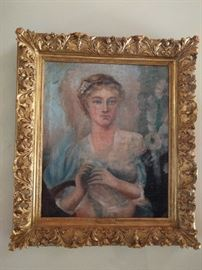 Lovely original oil painting, by Dutch artist, E. Lott, in a wonderful wooden gilt frame.                                    Looks as if she's eyeing a nice roll of toilet paper.         I'll bet it's a love gift from Mr. Whipple...