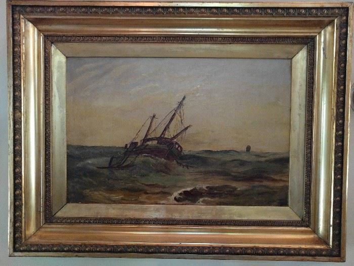 Original oil painting in wooden gilt frame - a ship tossed about on the ocean. There outta be a song!