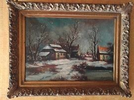 Tranquil winter scene, original oil in wooden gilt frame.