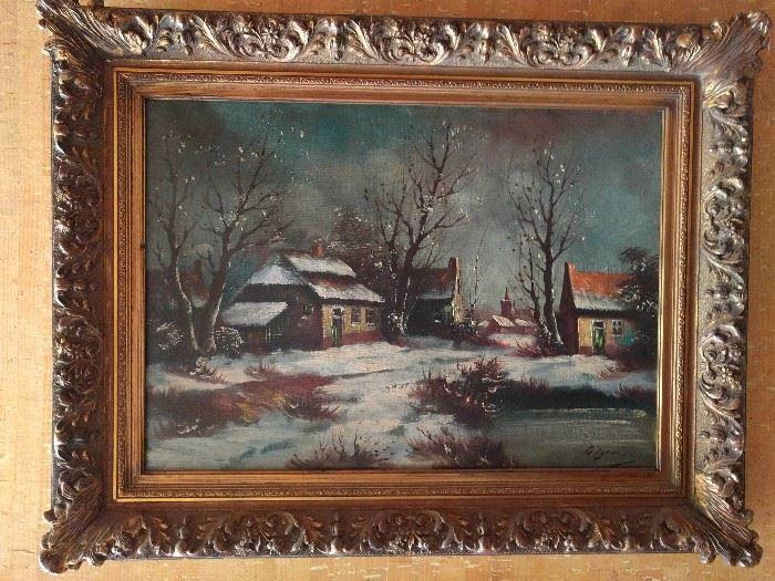 Tranquil winter scene, original oil in wooden gilt frame.