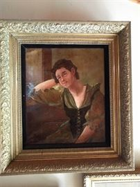 She is SO pining away for her lover, or she's very drunk and about to fall over. I think her corset may also be a bit tight.                                                                              She prolly don't know a THING 'bout birthin' no babies! Actually, she's a very good oil portrait, purchased from the Wrigley estate in the 1980's; love all the great frames on the art in this house!
