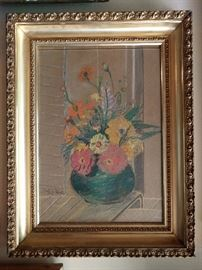 Original pastel floral still life, signed by Paula M. Robertson, 1949.