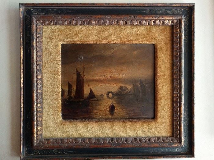Wistful harbor scene, original oil in rustic frame. What would Freud say about this image?                                   A buoy bobbing in the water, stalked by Nessie. Hmmm...