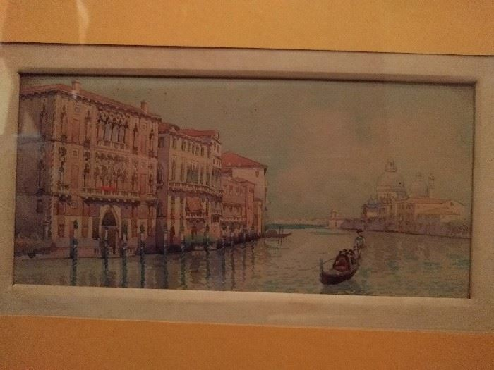 Dreamy original watercolor of a Venetian canal scene. Hate the yellow mat, but that can be changed at whim.
