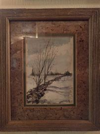 Another Tom Scott original watercolor, this one of a stone wall in a snow-covered field.                              Very 1970's, with avocado and cork board mat.        Don't ya know he had a harvest gold washer/dryer?