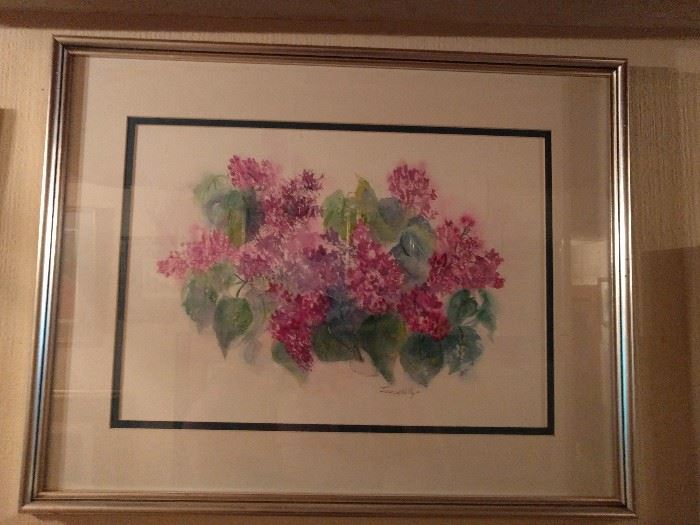 Original Lilac watercolor, by June W. Kelly.