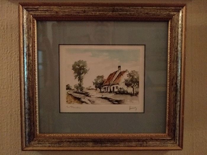 Original watercolor of thatched roof English cottage, one of a pair.