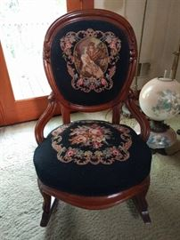 OK, one cannot have too many Victorian, hand embroidered rocking armchairs, or GWTW table lamps.                                  Oh, wait...