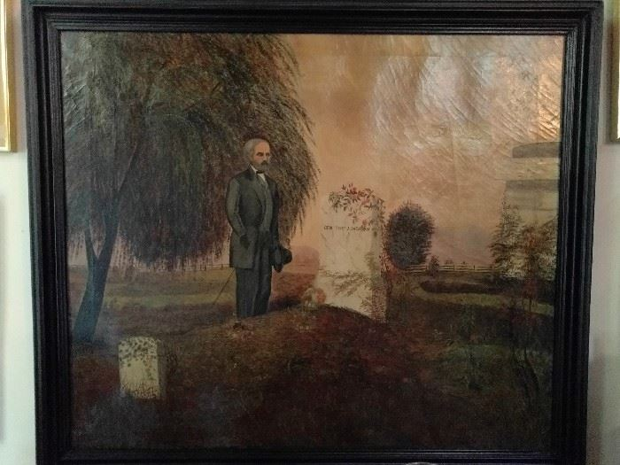Here's a heartwarming original oil painting, on canvas, of the tombstone of Gen. Thomas J. Jackson.            We all love uplifting photos of furry kittens and ponies, so add this one to your child's room, for years of fond memories and discussions about our country's history.