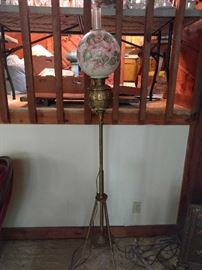 Victorian brass floor lamp, with hand painted globe.