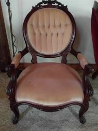 Well executed Victorian armchair, nicely carved, with decent upholstery.                                                              No pee stains either!