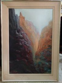Original oil painting of the GAP, the original inspiration for the giant retailer of boring jeans and khakis; signed Carpenter.