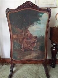 This is cool, a hand painted carved mahogany fire screen.