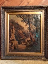 Original artist signed oil painting, on canvas, dated 1881; great frame!
