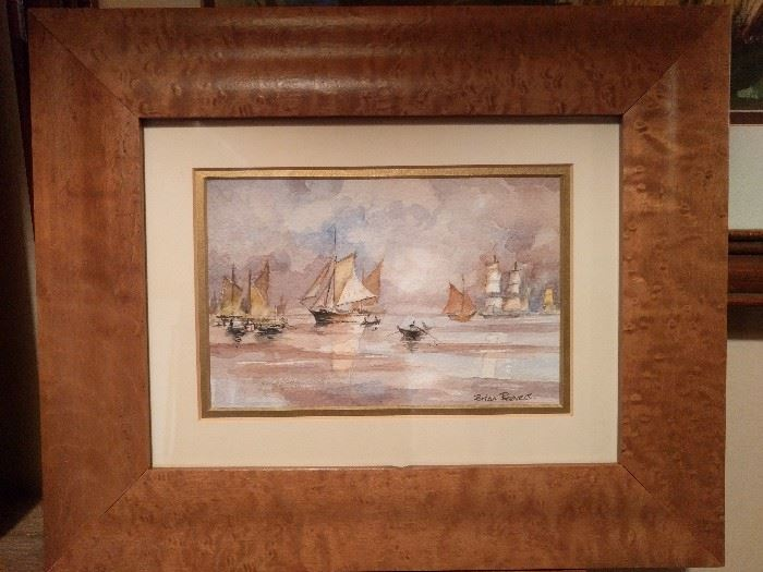 One of a pair of original watercolors, in birdseye maple frames, by English artist, Brian Beevers.