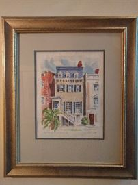 "Signed lithograph, by Alice Blank, 1989, ""West Jones Street, Savannah""."