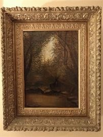 Original oil on canvas, in FABBY, unmolested frame! Most good gilt frames have been overpainted, in Sear's Weatherbeater gold, by the same mentality that wants to chalk paint all good mahogany furniture.