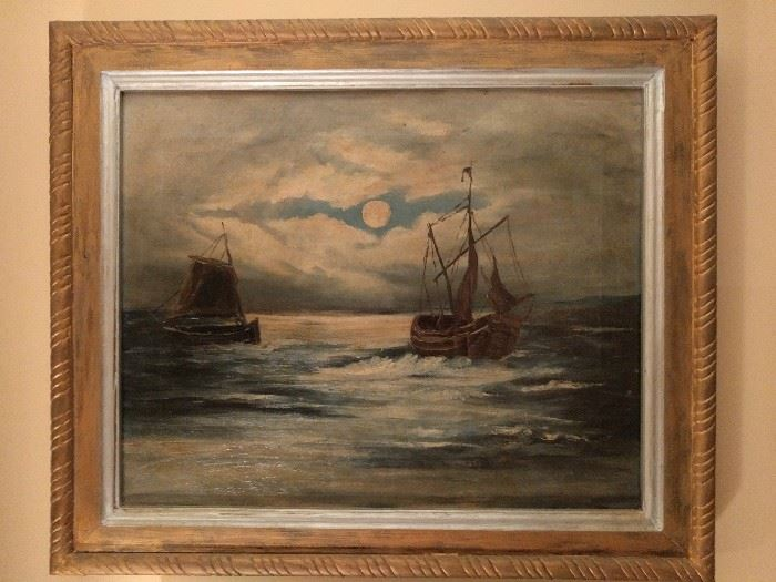 "Original oil on canvas of ships at sea, but you can plainly see that.                                                            Notice the ""rope"" frame, that's not by accident."