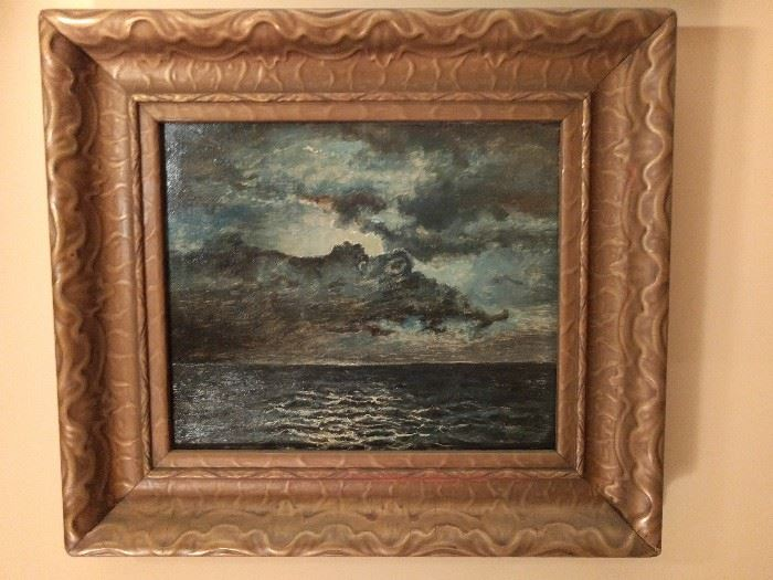Love this stormy sea scene, original oil on canvas. The wooden frame continues the wavy motion of the sea. Don't ask me for sea sickness pills at this sale, please.