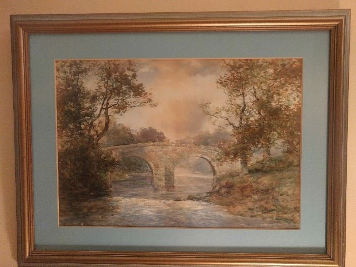 Original watercolor of stone bridge over troubled waters, signed J. Reid.