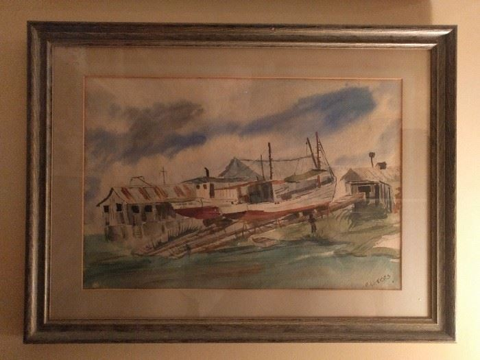 Original watercolor of dry docked boat, signed D. Waters. The boat is Named Sandra Nell.                                                                            Deep Waters? Devine Waters? You guess, I'm tired.