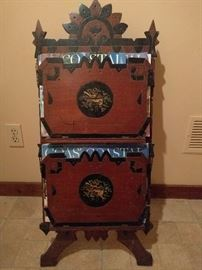 Very cool wooden Victorian double magazine rack - you can even have the magazines, no upcharge!