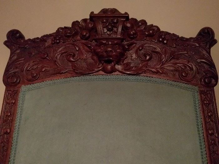 Carved top of the chair - LOVE the detail in this thing!