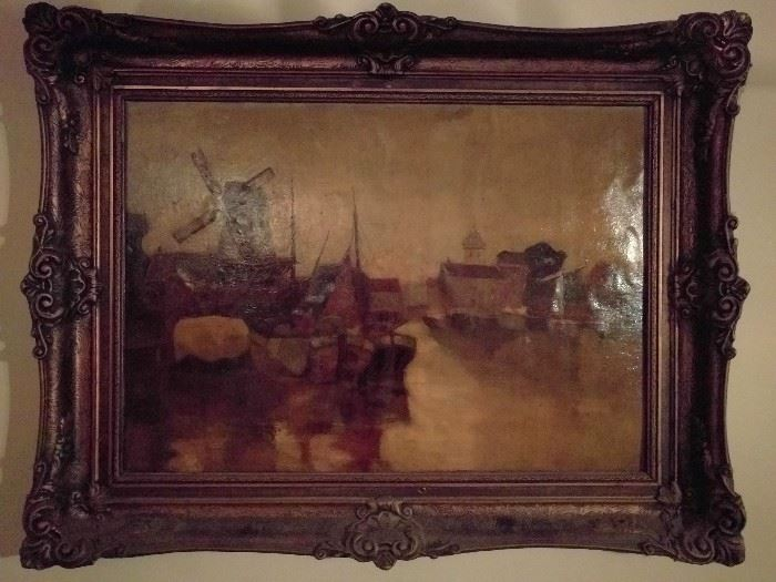 Large, vintage Dutch harbor scene signed oil on canvas - nice frame as well!