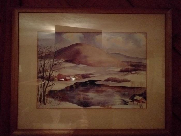 Original watercolor of sleepy village with snowfall, signed Robert R. Young.