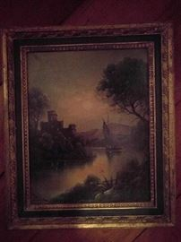 Nicely executed original oil on canvas, signed Backe, in vintage frame.