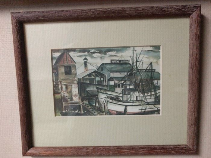 Original watercolor of two boats in a marina, Joann & Michael, how quaint!