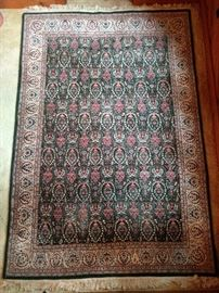 "Vintage Persian rug, hand woven, 100% wool face, measures 6' 2"" x 9' 3""."
