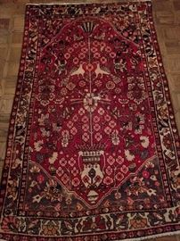 "Vintage hand woven Persian Tree of Life rug, 100% wool face, measures 7' 8"" x 4' 10""."