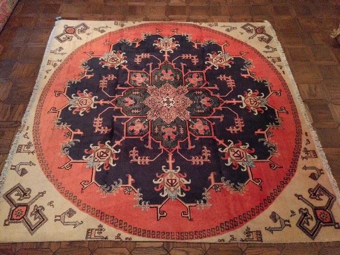 "Vintage hand woven Persian Karache rug, 100% wool face, measures 6' 4"" x 6' 9""."