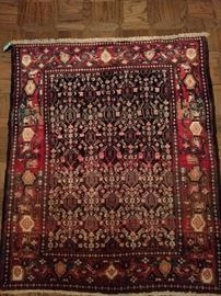 "Vintage hand woven Persian Viss rug, 100% wool face, measures 3' 4"" x 5' 5""."