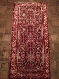 "Vintage hand woven Persian Malayer rug, 100% wool face, measures 3' 1"" x 6' 5""."