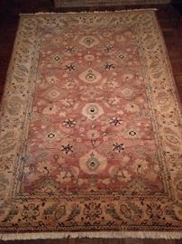 "Vintage hand woven Turkish Oushak rug, 100% wool face, measures 6' 10"" x 9' 7""."
