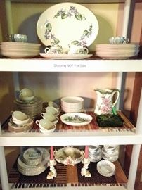 Several sets of china, including Franciscan Woodside, Franciscan Olympic, Lenox Solitaire and Royal Doulton Pavanne.