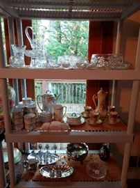 American Brilliant Cut Glass collection, vintage English lusterware, Austrian chocolate set, etc.